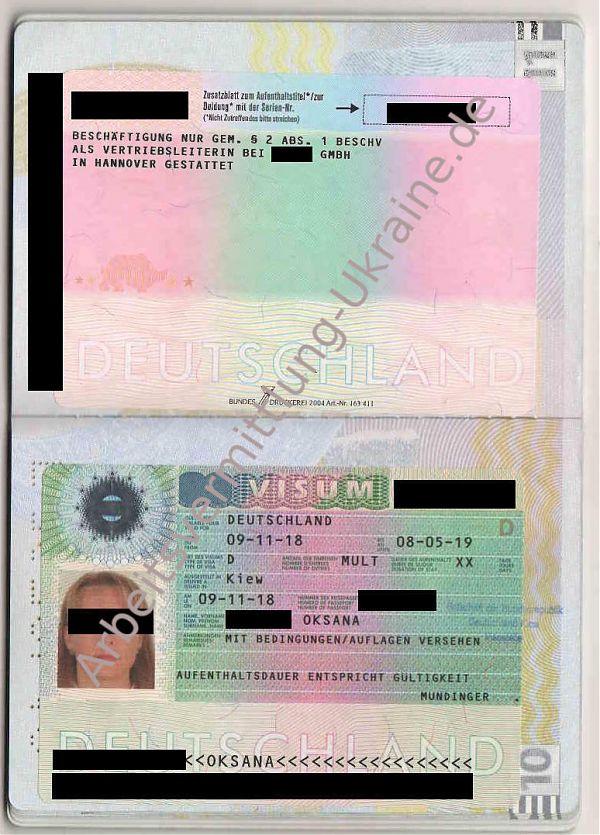 Bluecard-Visum einer Ukrainerin als Vertriebsleiterin in Hannover / виза Голубая карта для украинки как руководитель продаж для работы в Ганновере в Германии / віза блакитна карта для українки як керівник продажів для роботи у Ганновері у Німеччині
